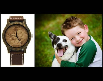 Photo watch, Picture watch, Engraved watch, Wooden Watch, Wooden Watch Engraved, Personalized Watch, Custom Watch, Customized Watch