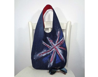 3dbffa9da3c6 Hobo bag slouchy purse sling bag Union Jack Grunge Casual style recycled  upcycled denim