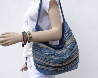 Denim bag slouchy hobo handbag purse recycled upcycled