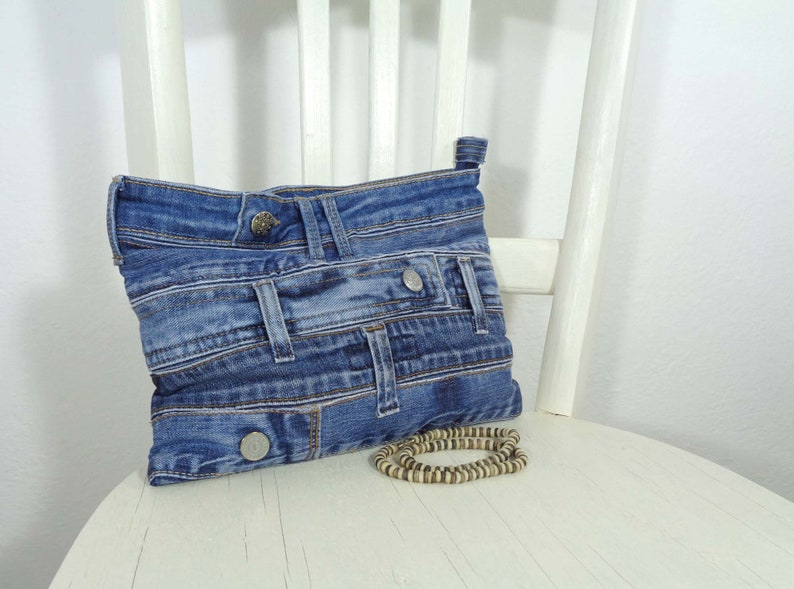 reputable site b6c8a 06602 Denim clutch mini bag purse up-cycled jeans Rock Grunge Casual