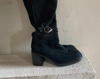 90s Square Toe Black Suede Knee High Boots