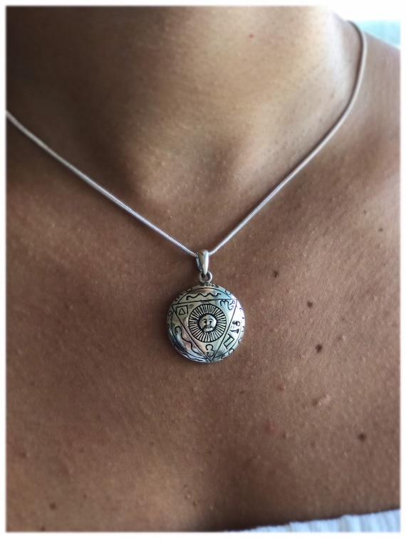 charm bohemian Egyptian Moon Pendant Yarah Store moon sun moon style 925 Sterling silver gift for her gypsy necklace boho