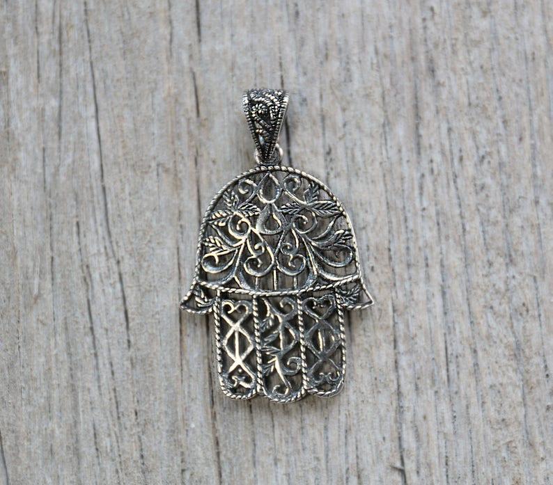d6529db61 Filigree Hamsa Pendant Sterling silver pendant handmade | Etsy