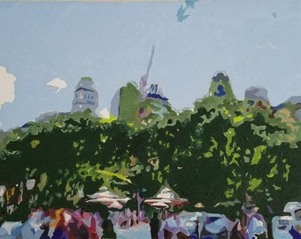 Oil Painting of Bryant Park in Manhatten