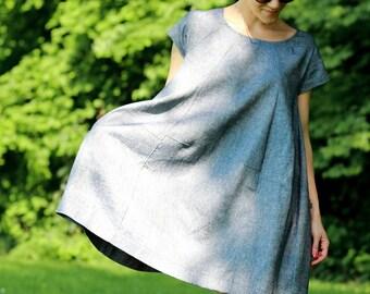 Weite Kleidung, Hemden, eine Kleidergröße, Kleid, Kleid, Kleid, Kleid komfortabel, Leinen Kleid mit Taschen, Leinenkleid, weitgehend