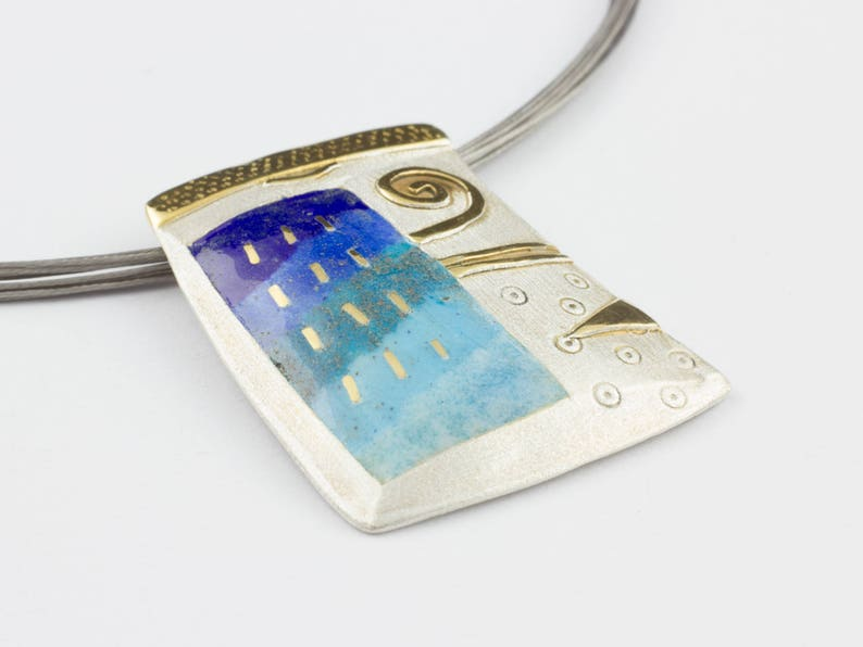 Silver Pendant Designer Jewelry exclusive Crafts Enamel Art image 0