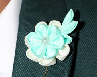 Turquoise lapel pin Blue Boutonniere Men's Buttonhole Light Blue Groom's Boutonniere Flower Soft blue Wedding pin Brooch Blue Groom Flower