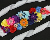 Rainbow Flower Sash Mexican Fiesta Dress Colorful Maternity Sash Boho Pregnancy Sash Gender Reveal Party Baby Shower Gift Keepsake Belt