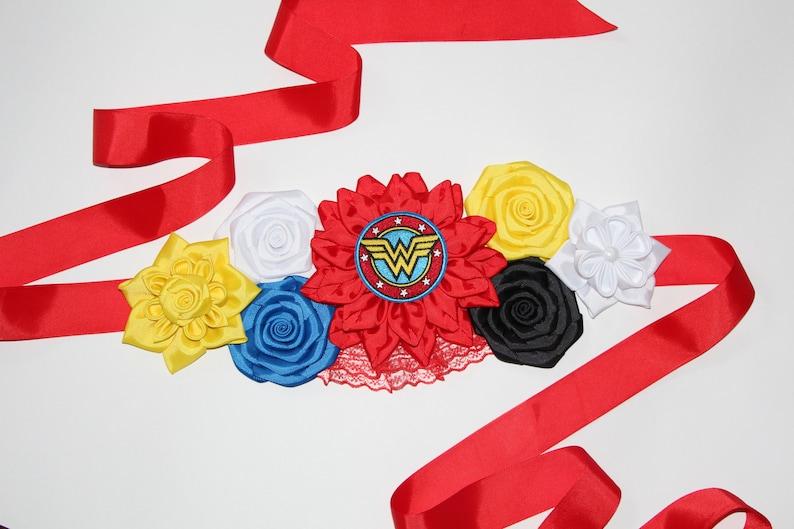 Wonder Woman Baby Shower Sash Superhero Maternity Belt Blue Red Yellow Flower Sash Superhero Belt Baby Shower WonderWoman Flower Belt