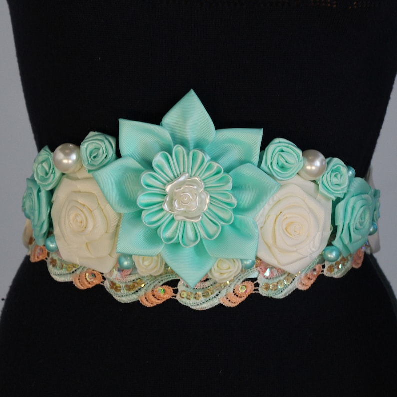 Baby Shower Sash Aqua Flower Belt Blue Maternity Sash Blue Etsy
