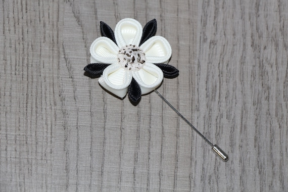 Mens lapel flower elegant white and black pin flower lapel pin etsy image 0 mightylinksfo