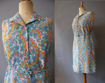1960s Psychedelic Shirtwaist Dress