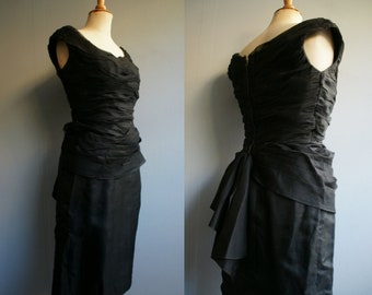 05b078c6b60 1950s Draped Black Bombshell Dress