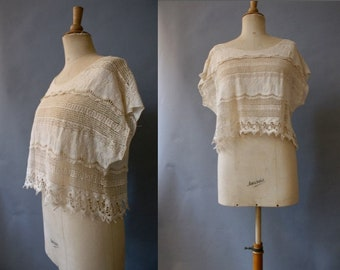 1970s Lace&Crochet Top