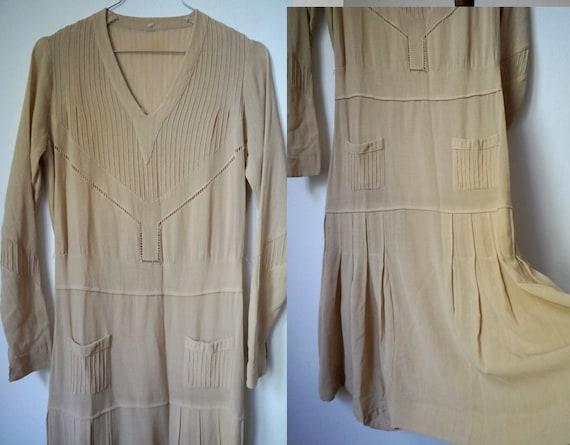 1920s Cream Tennis Dress