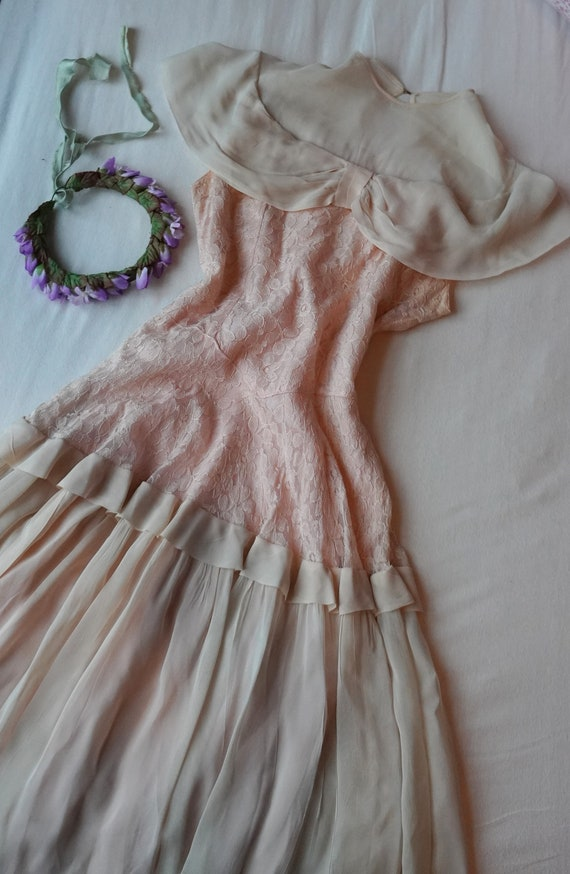 Light Pink 1930s Lace & Chiffon Dress