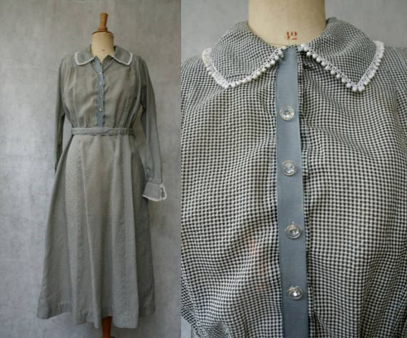 Late 1920s Black&White Gingham Dress