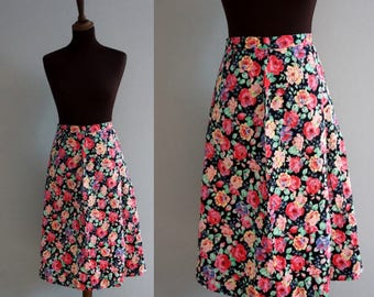 1960s Floral Midi Skirt / Vintage Skirt