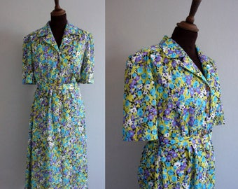 Green and Blue Floral 1960s Shirtwaist Dress / Vintage Summer Dress