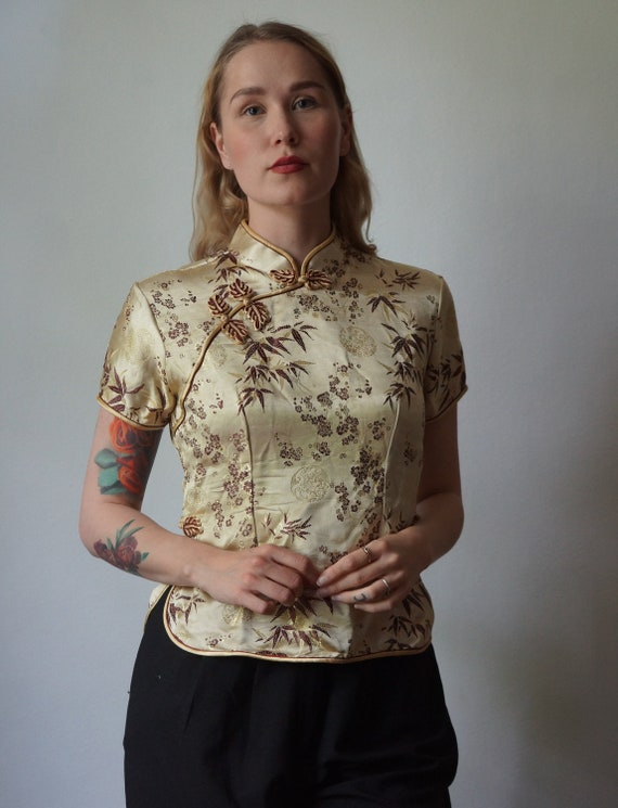 Golden Chinese Cheongsam Blouse, vintage