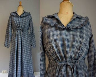 Blue & Grey Checked Wool Prarie Dress