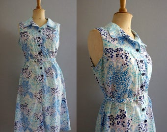 Blueberry 1960s Shirtwaist Dress / Vintage Summer Dress