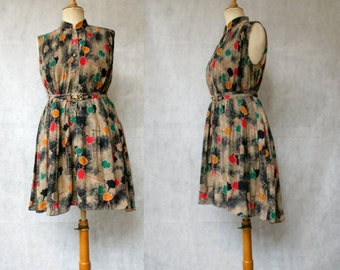 Print 1980s Shirtwaist Dress