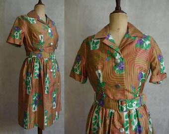 1950s Purple Rose Summer Dress / Vintage Floral Shirtwaist Swing Dress