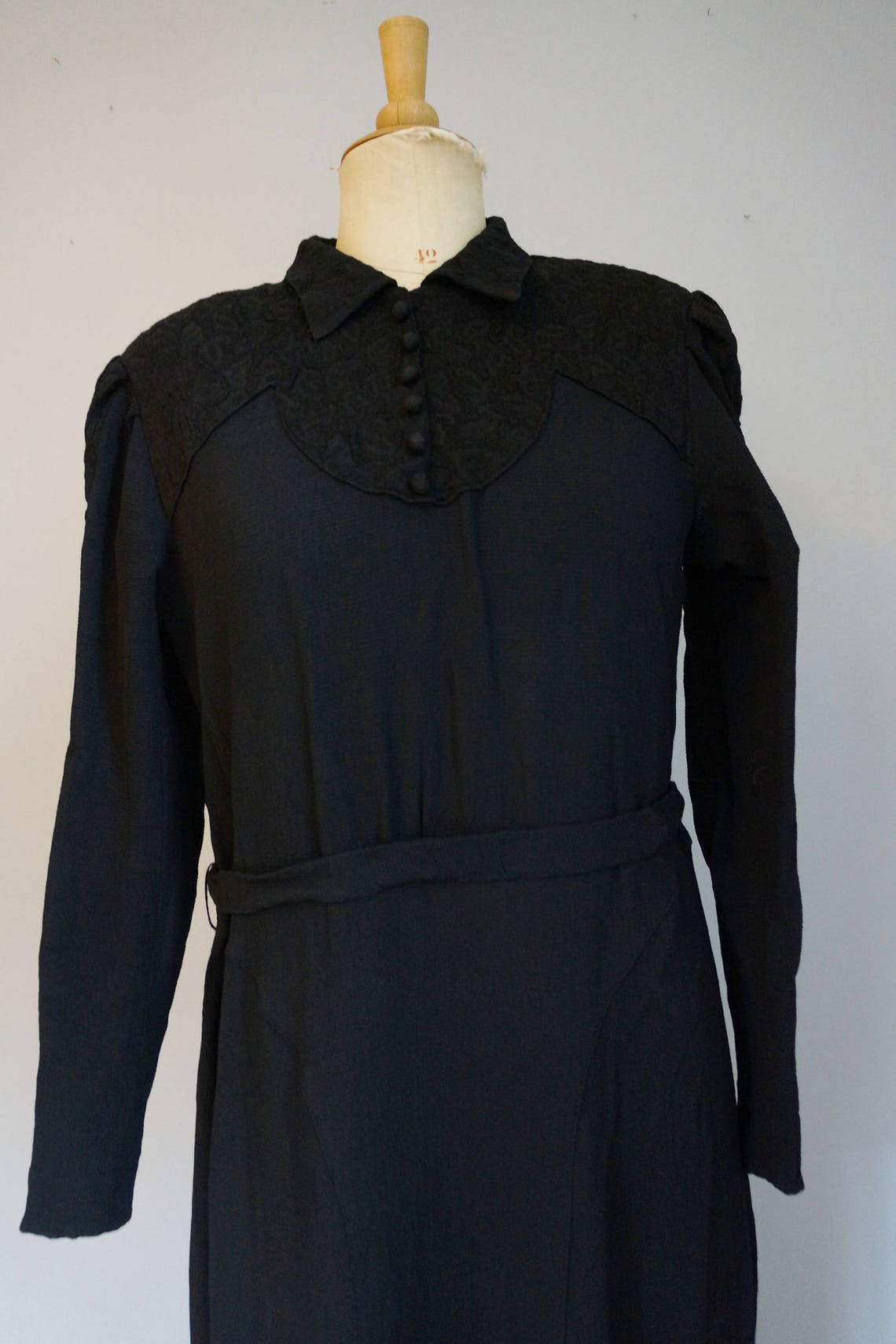1930s Black Dress with Lace