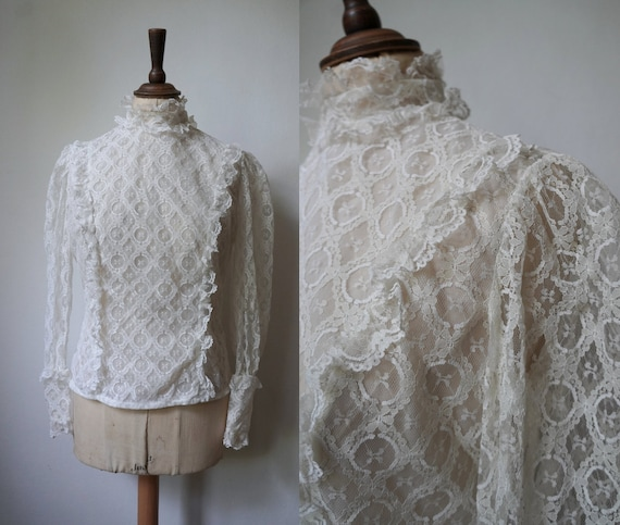 1970s does Edwardian Lace Ruffle Blouse