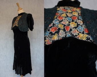 Early 1930s Silk Velvet Dress