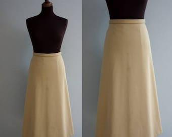 Beige 1970s A-Line Skirt / Vintage Skirt