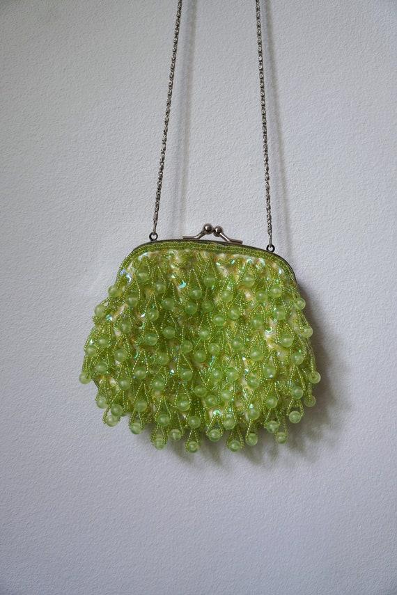 Vintage Beaded Apple Green Handbag