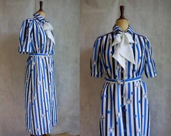Blue&White Patterned 1970s Shirtwaist Dress