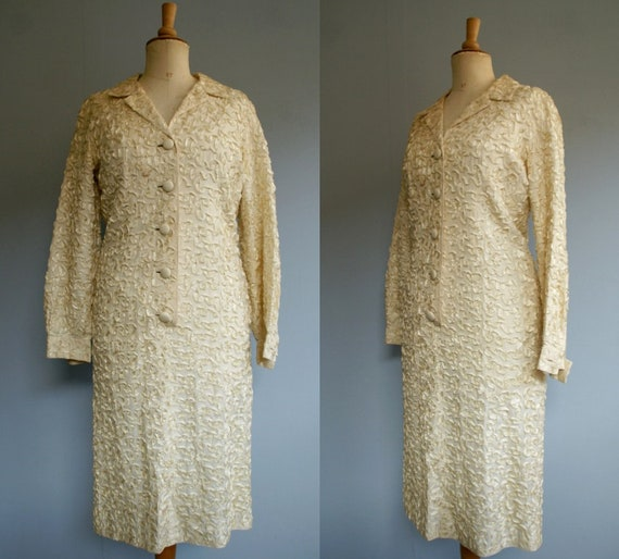 1960s Cream Soutache Dress
