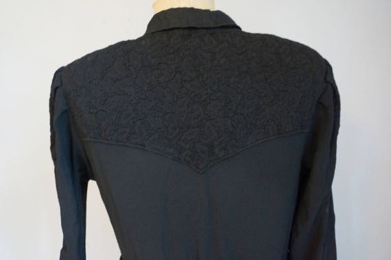 1930s Black Dress with Lace - image 6