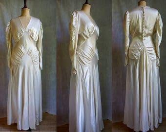 1930s Ivory Liquid Satin Wedding Gown / Vintage Wedding Dress