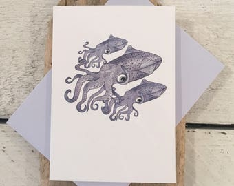 Squid card, Squid birthday card, Fathers Day card, Greeting card, Hand drawn card, Nautical card, Squid print card, Squid art, Squid print