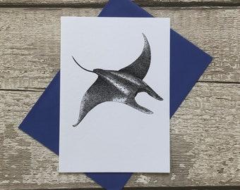 Mantaray Card Marine Biologie Be proud of yourself Manta Postkarte Marine Postcard Design Mantarochen Karte