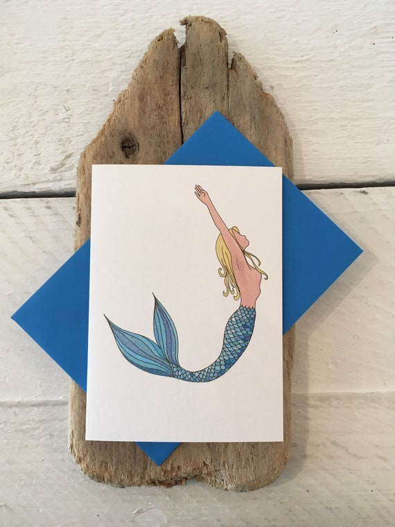 Mermaid Card Birthday Art Hand Drawn