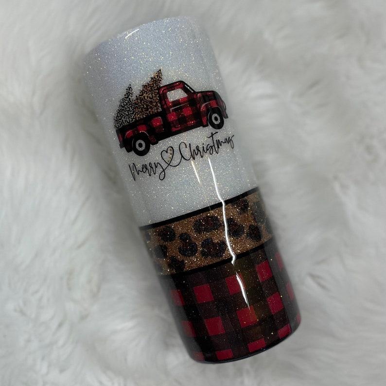 Merry Christmas cheetah and Buffalo plaid glitter tumbler