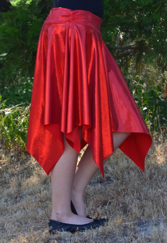 ff0980b89 Red Handkerchief-Style Skirt / Sparkly Dance Skirt / Dance | Etsy