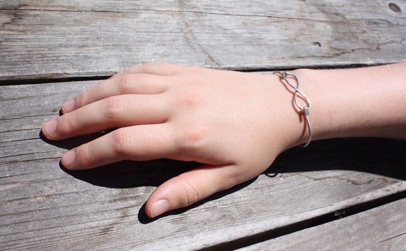Infinity Bracelet  Silver Cuff Bracelet  Silver Bracelet  Women\u2019s Jewelry