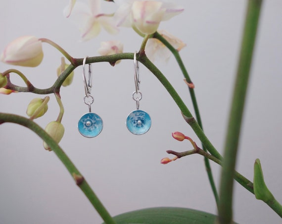 "Pair of ""Floral"" in silver with blue and white enamel dangle earrings"