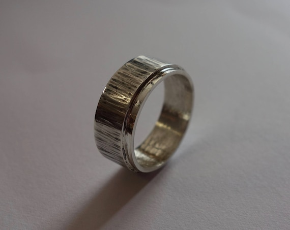 Sterling Silver hammered and patinated men, women ring.