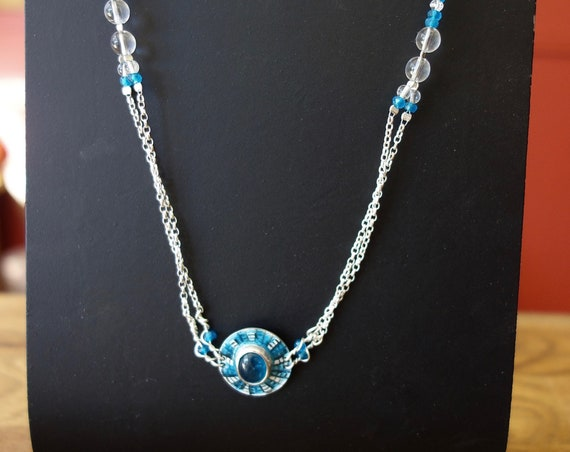 """Empire"" sterling silver necklace, with enamel and natural blue apatite with rock crystal gemstone. For women."