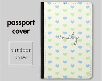 Personalised Passport Holder - Vintage Polka Heart - Cute Passport Cover - Personalized Travel Gift - Passport Wallet - Travel Wallet PC011