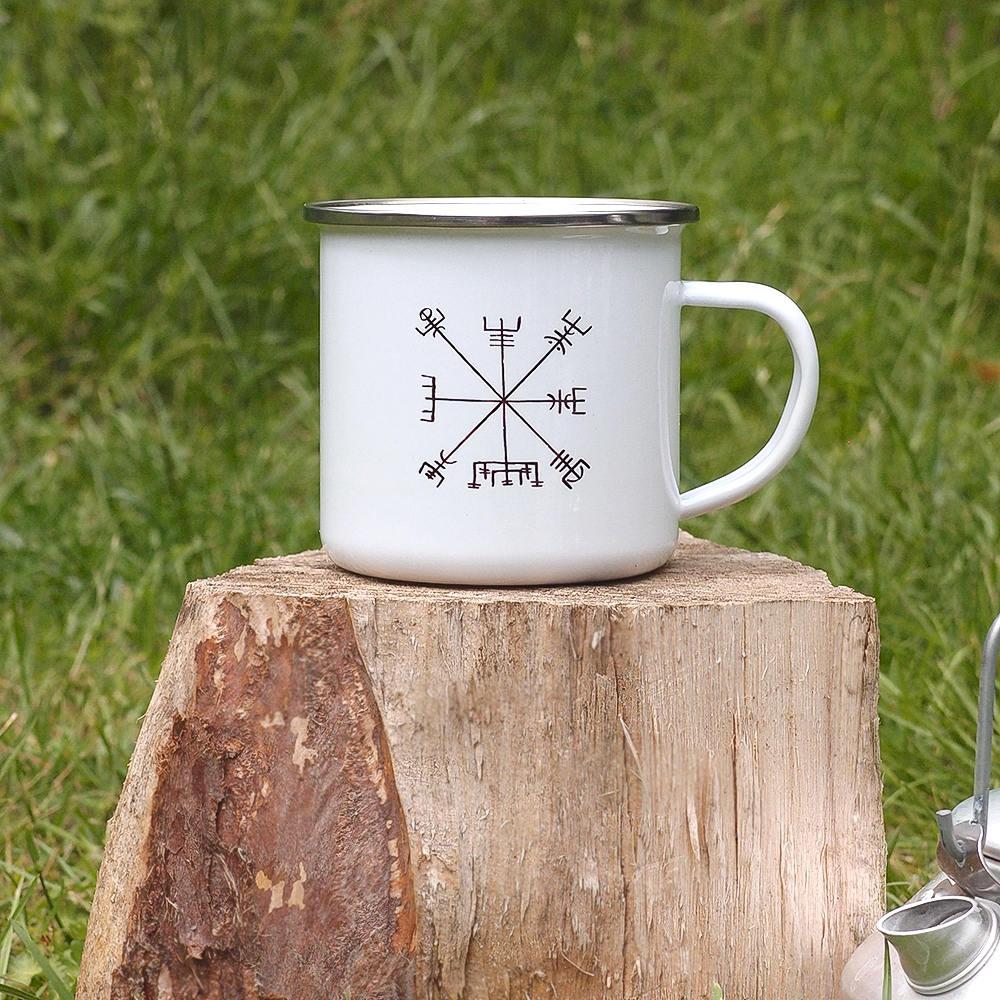 vegvisir emaille becher camping becher wikinger kompass etsy. Black Bedroom Furniture Sets. Home Design Ideas