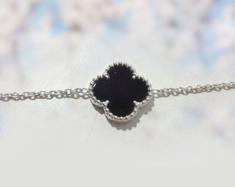 Sterling silver black onyx bracelet clover bracelet Gift for her Silver Chain onyx gemstone bracelet July Birthstone Bracelet