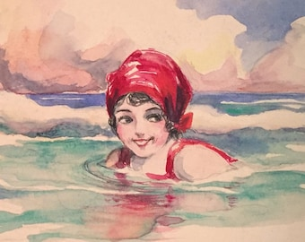 Antique Ray Schumann Signed Watercolor Painting / 1920s Flapper Girl Sea Bather Watercolor Illustration / California Artost Seascape Art